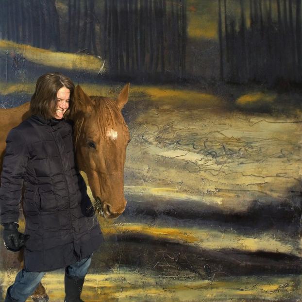 Chantale et son rêve d'un cheval, enfin réalisé. Montage numérique