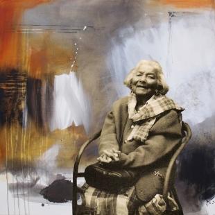 Simone Blouin, une artiste de la vie, intégrée numériquement à un de mes tableau.