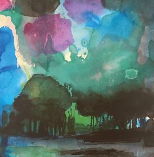 10 x 10'', Pigments dispersion sur panneau de bois monté sur cadre galerie peint noir, 220 $