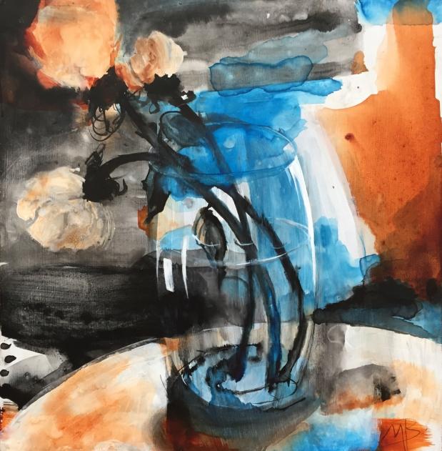 14 x 14'', pigments dispersion et aquarelle sur panneau de bois, 250 $